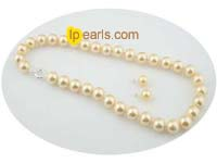 yellow 12mm shell pearl necklace and earrings sets