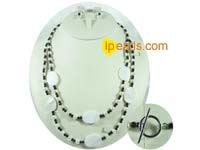 14*20mm white oval shell necklace set with dangling earrings