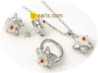 flower carve shell and red coral pendant ring and earrings set