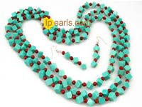 square green turquoise and red coral set on wholesale