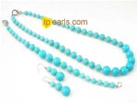 gradual change round turquoise necklace bracelet and earrings se