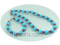 simple red coral and blue turquoise bracelet and necklace sets