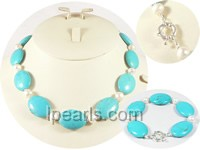 15*20mm bule oval turquoise jewelry sets with pearl