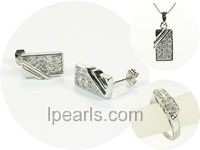 oblong sterling silver rhodium plated set