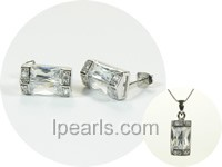 column shape sterling silver rhodium plated set