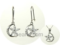 moon shape sterling silver rhodium plated set