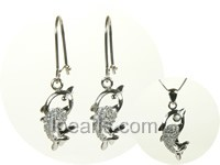 fish shape sterling silver rhodium plated set