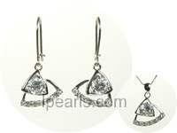 triangle sterling silver rhodium plated set