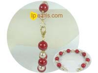 red shell pearls jewelry bracelet