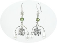 8*14mm white teardrop shape shell pearl earrings