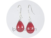 wholesale 8*10mm red teardrop shell pearl dangle earrings