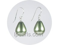 wholesale 12*15mm green teardrop shell pearl dangle earrings