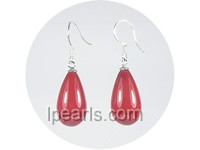 wholesale 10*18mm red teardrop shell pearl dangle earrings