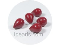 5PCS 9*14mm red tear-drop shell pearl beads