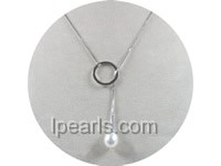 "18"" sterling silver chain Lariat with 8-9mm pearl necklace"