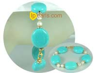 7-8mm white nugget pearl and blue turquoise bracelet