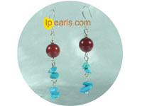 turquoise with coral beads earrings