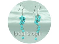 round blue turquoise dangling earrings