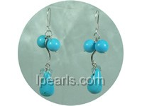 12*18mm teardrop blue turquoise earrings with faceted crystal