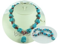 20*30mm natural irregular blue turquoise necklace