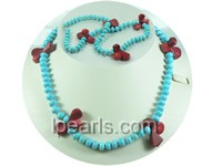 4*8mm blue round and flat turquoise necklace with red coral