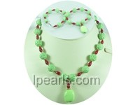 12mm green round cameo turquoise necklace with red coral