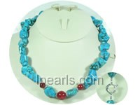 red coral beads and irregular blue turquoise necklace