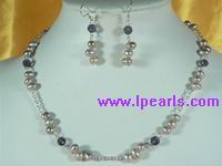 side drilled pearl neckalce with crystal beads&earrings sets