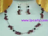 freshwater pearl and silver chains necklace&earrings sets