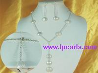 12mm coin pearl jewelry and silver plated chains necklace set