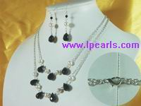7-8mm potato pearl jewelry&drop crystal beads necklace &earrings