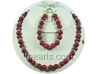 wholesale 10mm red round coral necklace and bracelet set