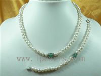 7-8mm white freshwater pearl necklace set with green jade bead