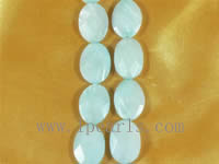 five faceted light blue shell strands