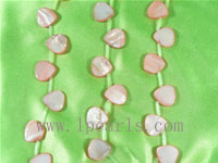 five strands of 15mm pink shell strands