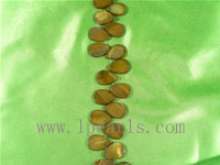 five strands of bronze-colored shell strands