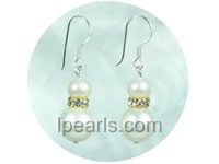 wholesale 10mm white color shell bead dangling earrings