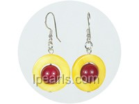 wholesale red color shell bead dangling earrings