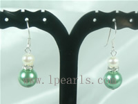 wholesale 10mm green color shell bead dangling earrings