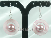 wholesale pink color shell bead dangling earrings