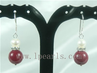 wholesale 10mm red color shell bead dangling earrings