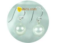 10mm white round shell pearl sterling wire dangle earrings