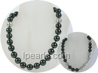 wholesale 14mm black shell pearl necklace