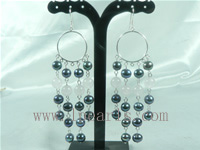 4cm 7-8mm black FW jewelry pearl sterling dangling earring
