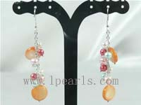 orange shell bead sterling silver dangling earring