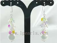 white freshwater pearl with multi-color crystal dangling earring
