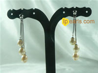 pink tear-drop freshwater pearls sterling  earring
