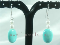 wholesale blue olivary shape turquoise sterling dangling earring