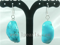 wholesale blue turquoise sterling dangling earrings