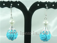 wholesale 15mm bugle shape turquoise sterling dangling earrings